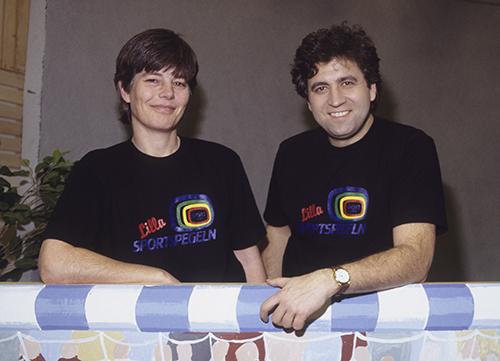 Artur Ringart journalist och Pia Erlandsson programledare för Lilla Sportspegeln SVT 1990. Roger Tillberg/TT
