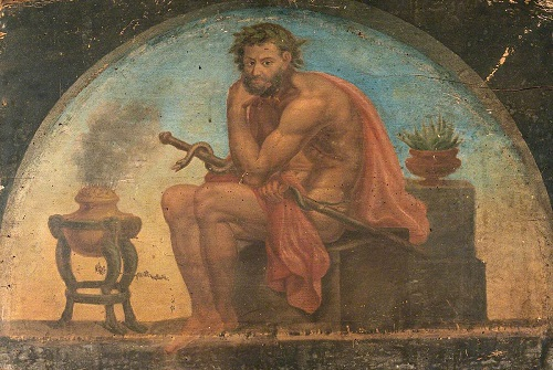 Asklepios, läkekonstens gud, med sin ormomslingrande stav som än idag är en klassisk symbol inom medicinen.