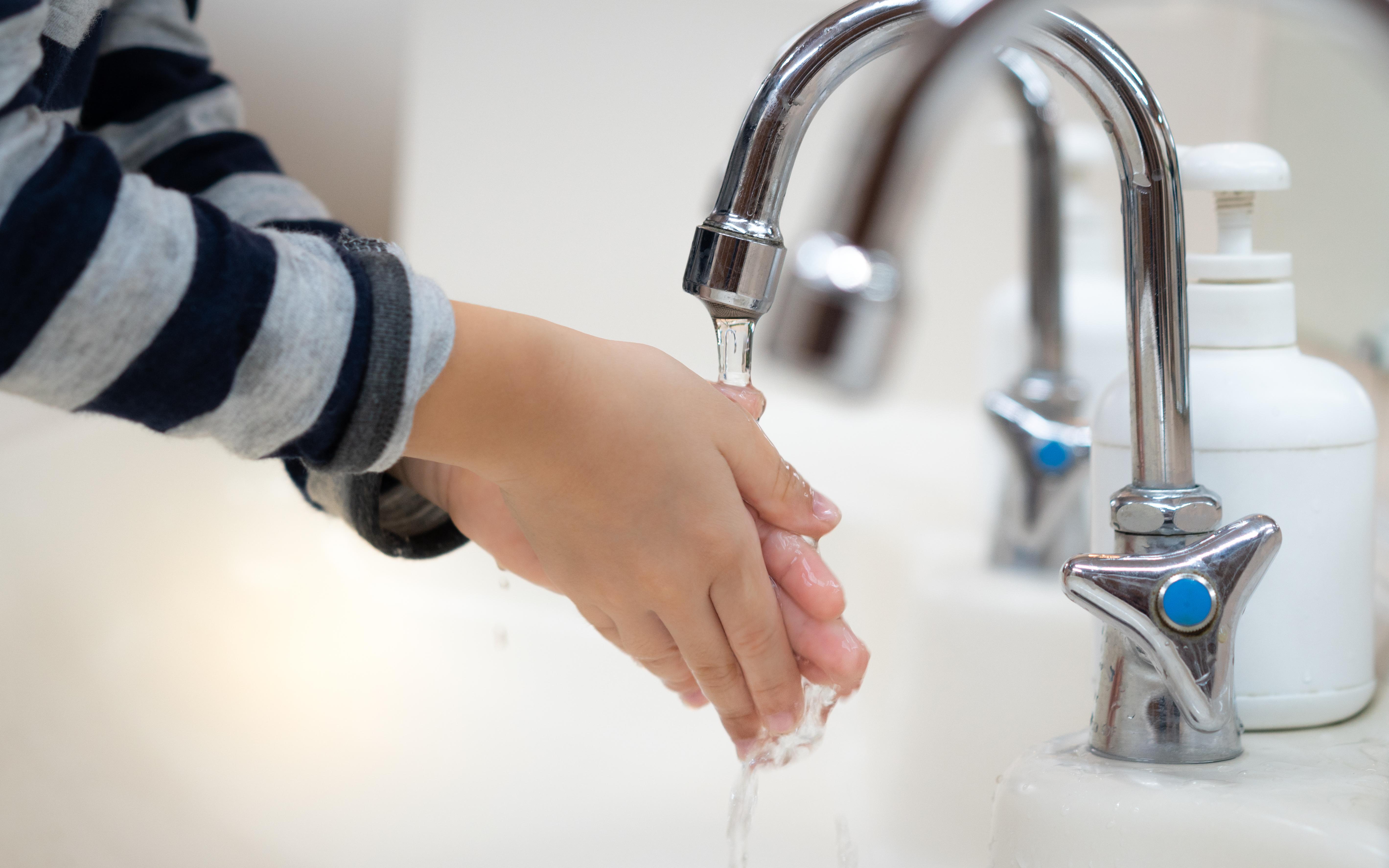 Tvätta händerna mycket noggrant och ofta. Var noga med att inte missa ovansidan av handen, runt tummen, mellan fingrarna, runt naglarna och handlederna.