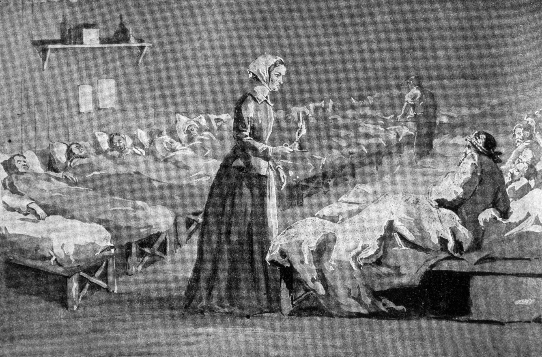 """Bland soldaterna på sjukhuset i Skutari föddes myten om Florence Nightingale som """"Damen med lampan""""."""
